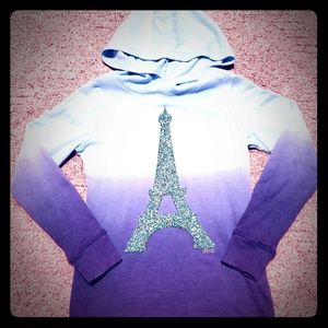 Justice blue ombre Eiffel Tower hoodie